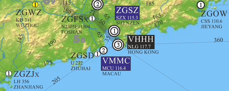 extract from airfield chart china south east